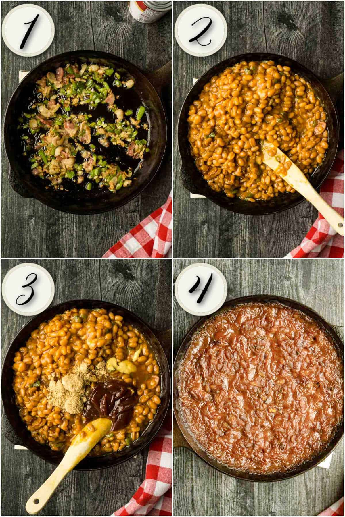 4 images of cooking baked beans in cast iron skillet sauteeing veggies, adding beans, and baking