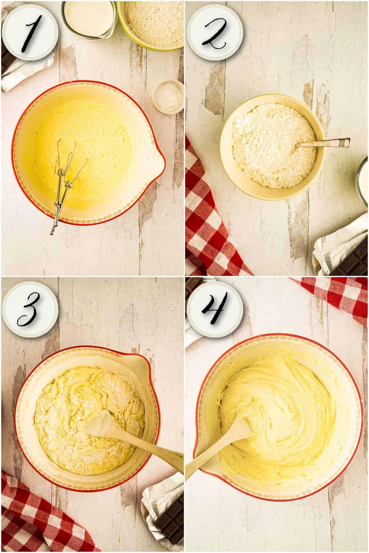 process shots of making yellow cake batter