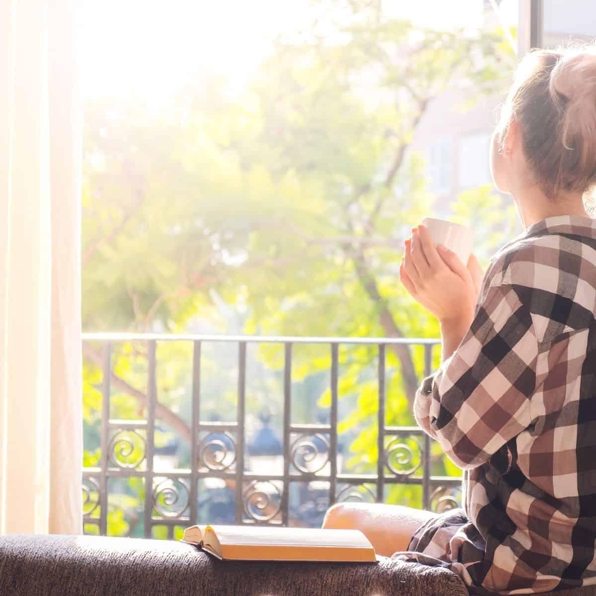open window on sunny morning