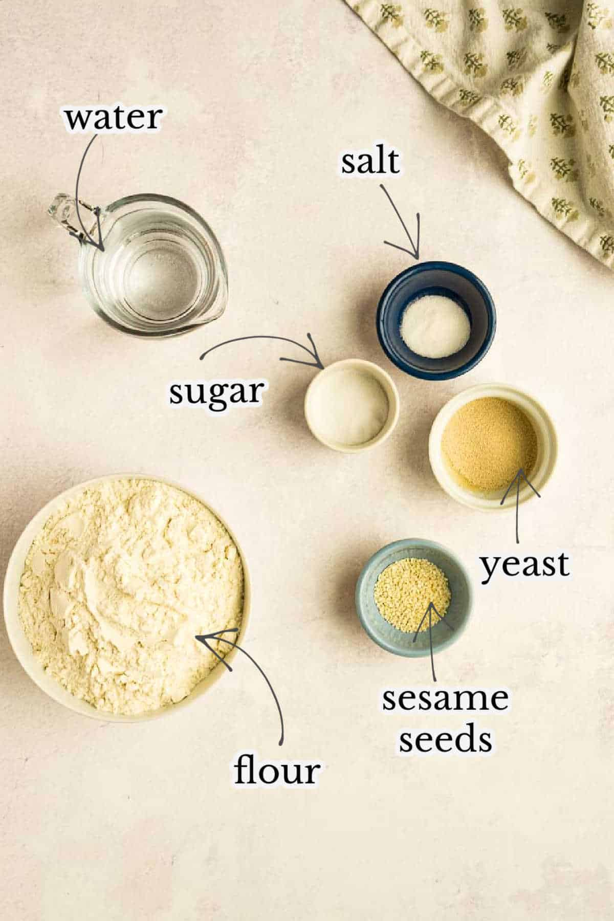 water, salt, sugar, flour, olive oil and yeast