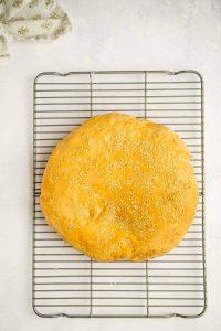 muffuletta bread on cooling rack