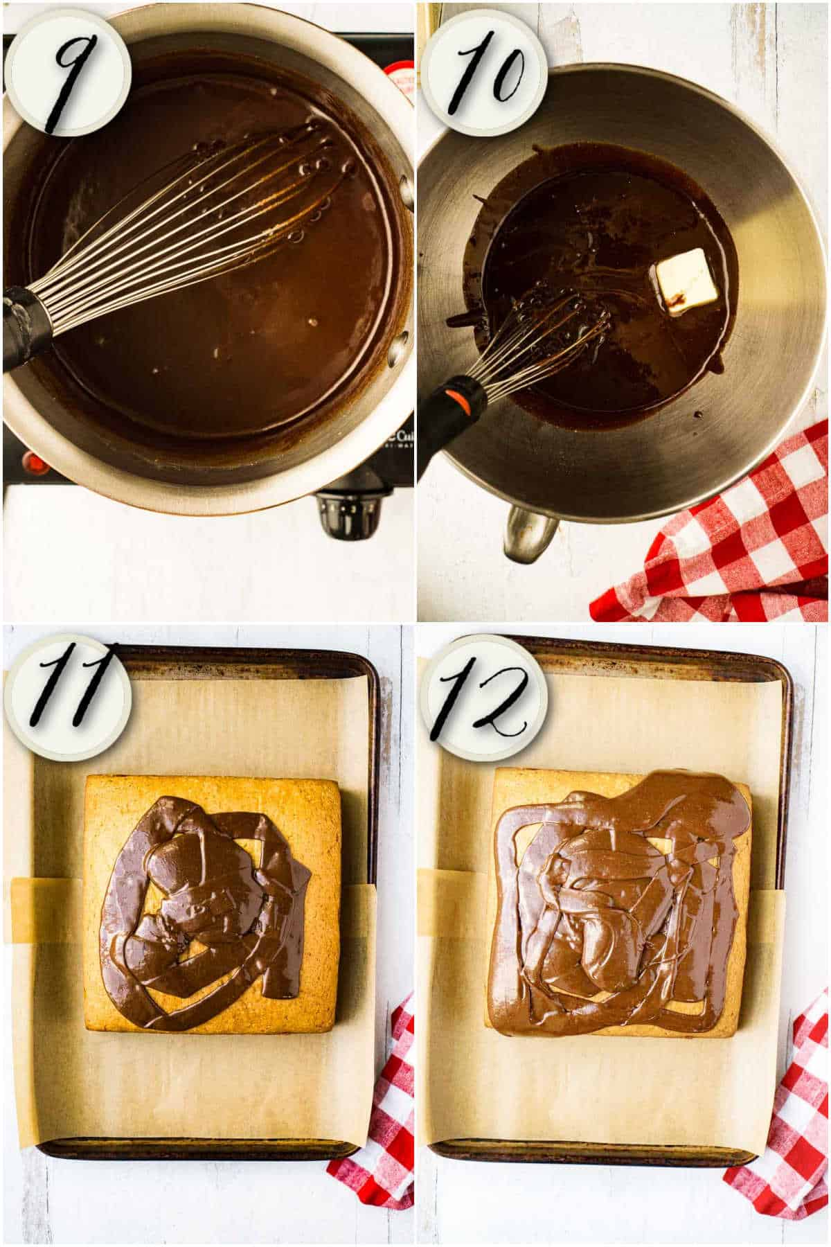 collage of process shots making old fashioned chocolate icing