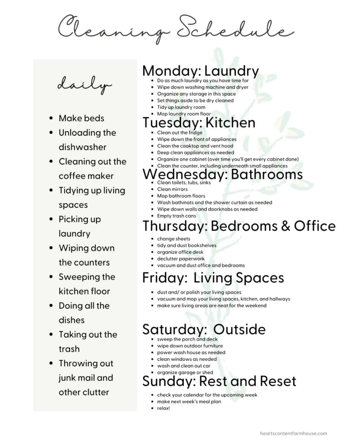 sample cleaning schedule showing what to do each day of thhr week