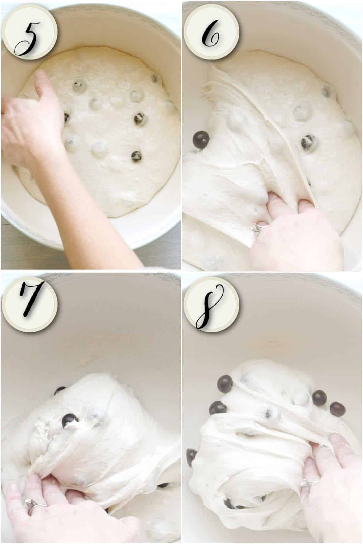 collage of four images showing dough being restretched into ball