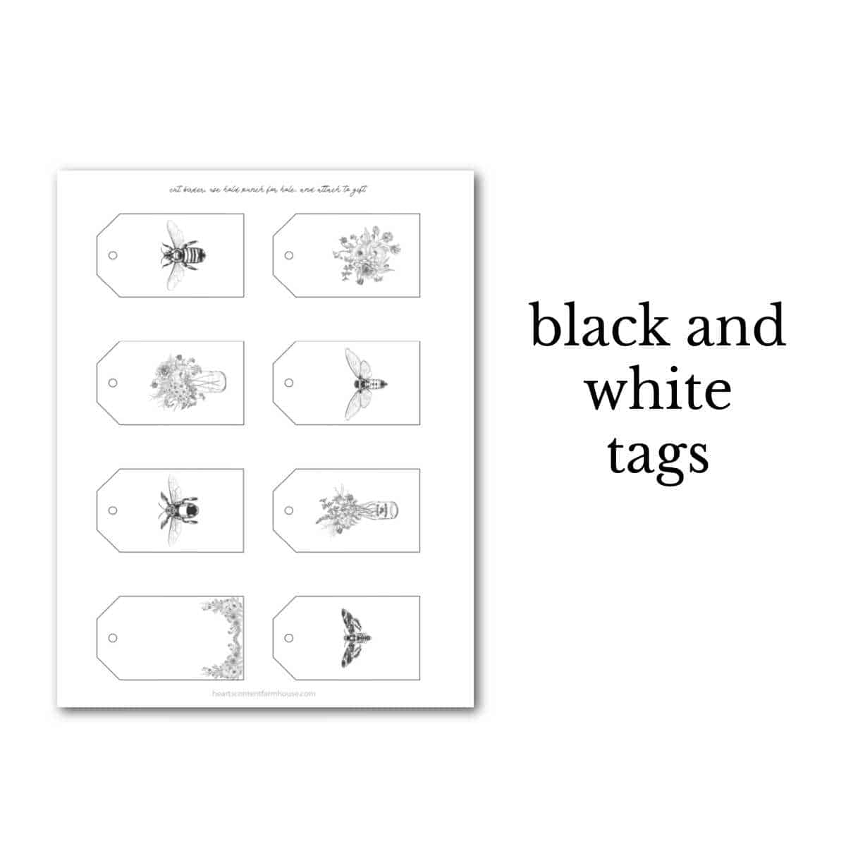 black and white bee tags vintage design