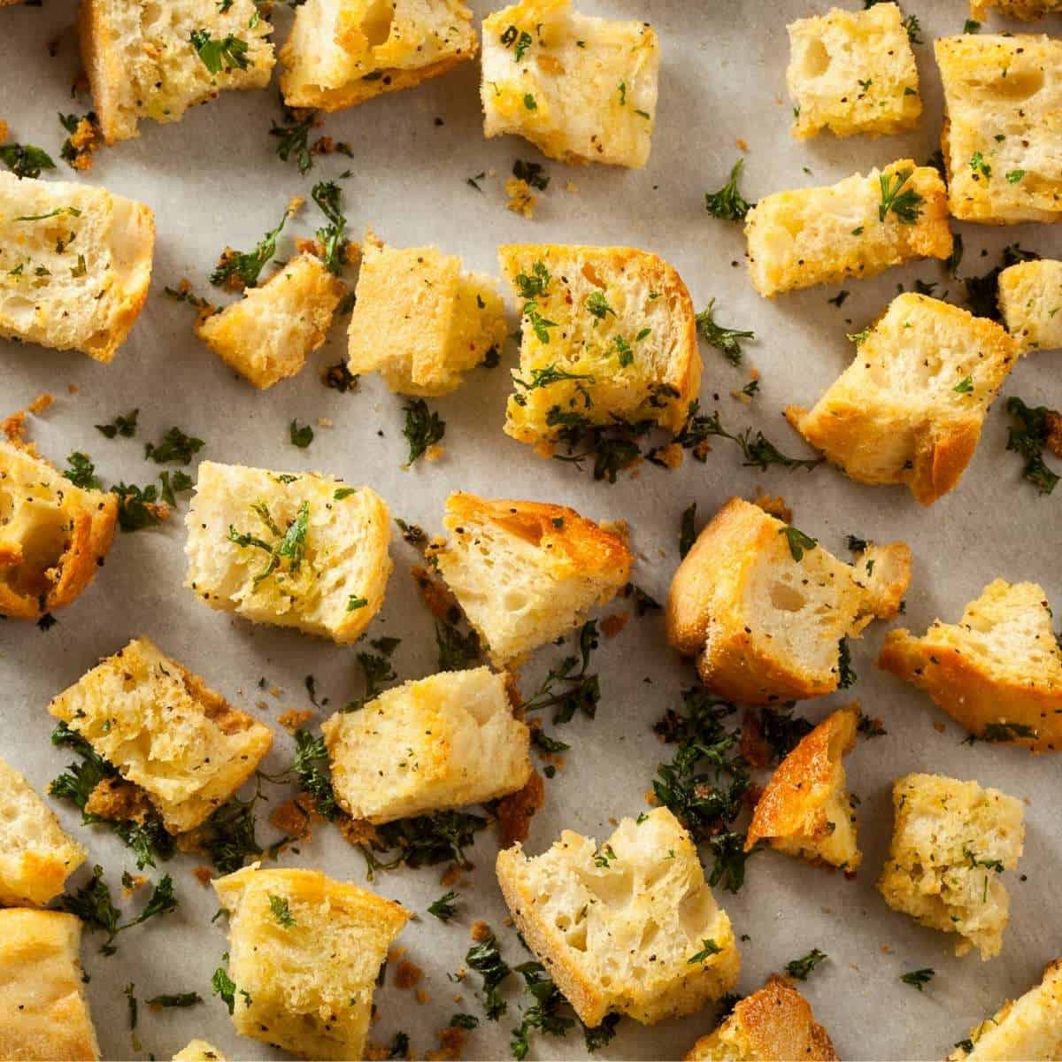 homemade croutons made from leftover bread