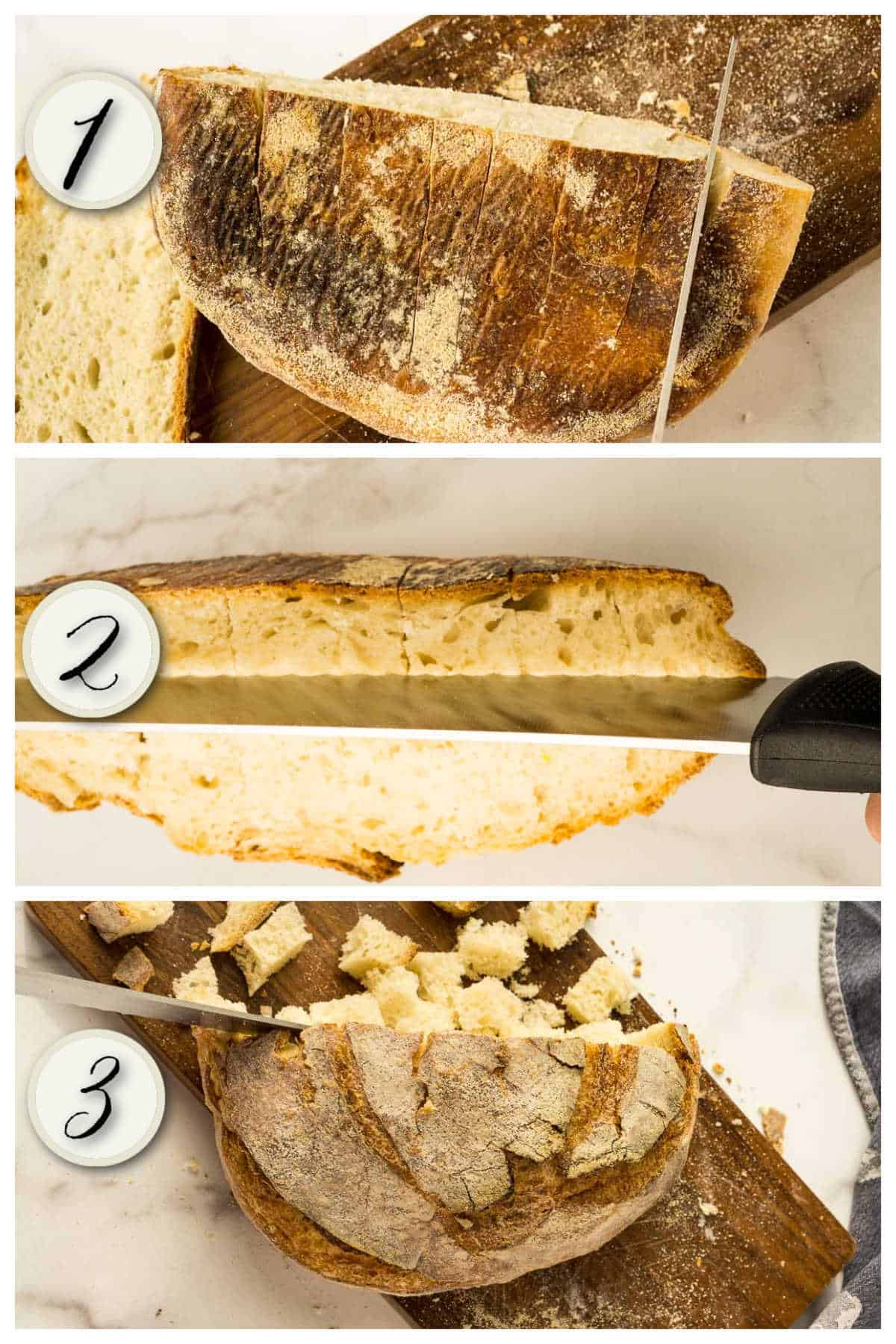 3 steep process of cutting sourdough bread into cubes quickly