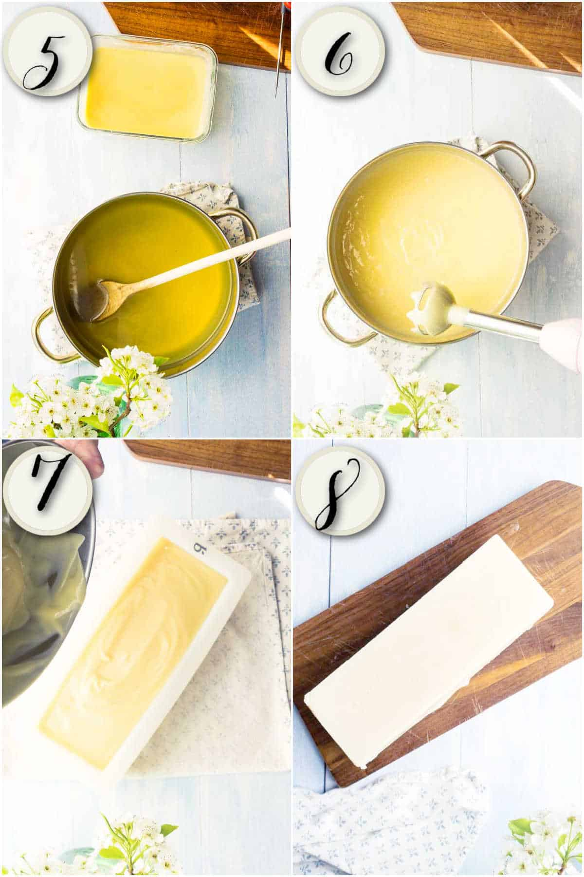 grid of 4 images: melted oil in pot, stick blender mixing, soap batter being poured into mold, unmolded white loaf of soap
