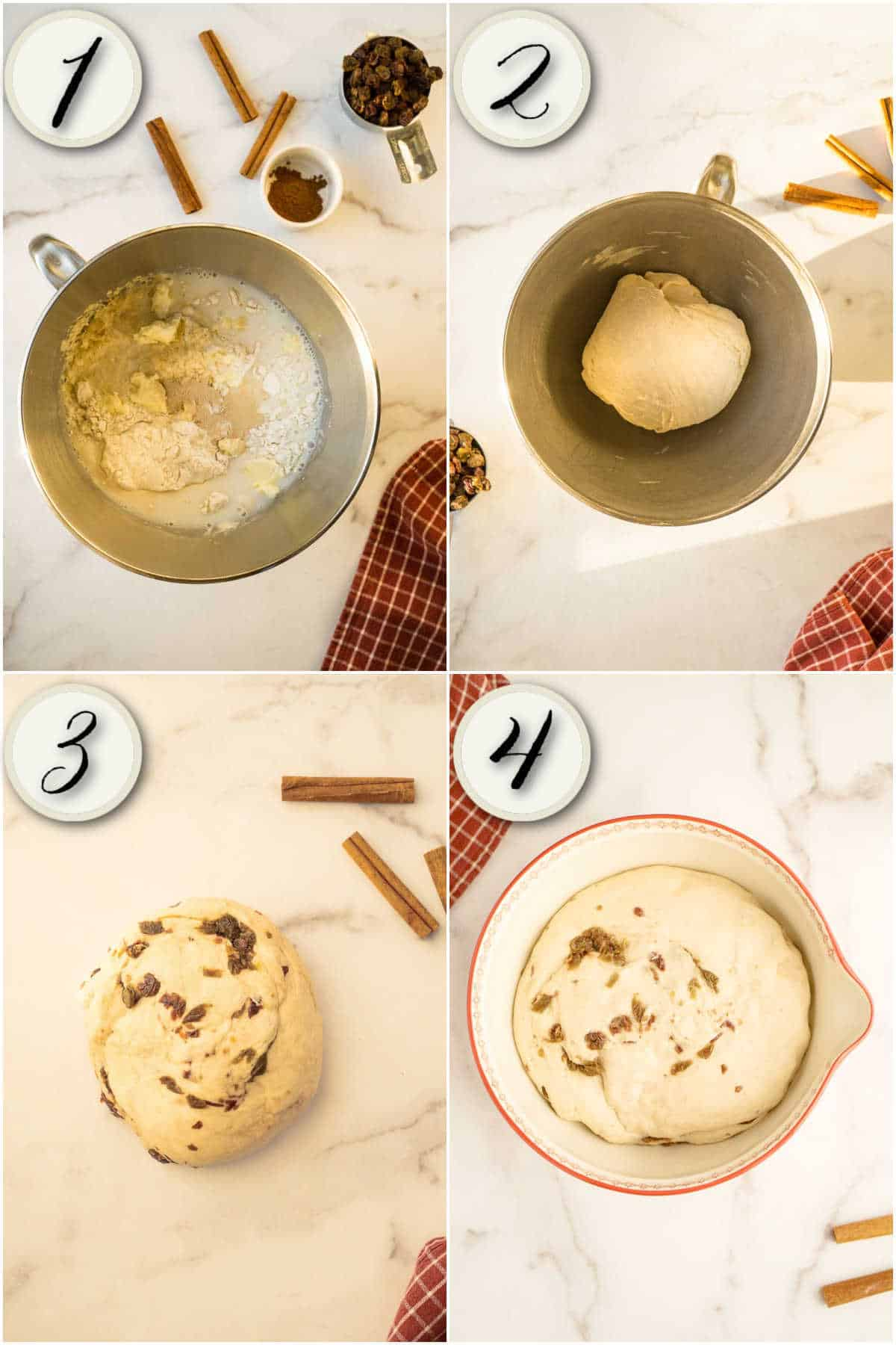 4 images- mixing, kneading, and rising bread dough