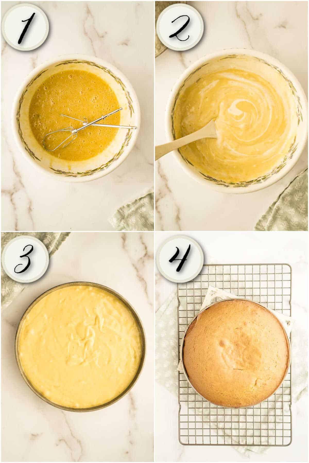process of making sourdough banana cake- beating sugar, oil, and bananas, mixing in dry ingredients, adding starter, and baking