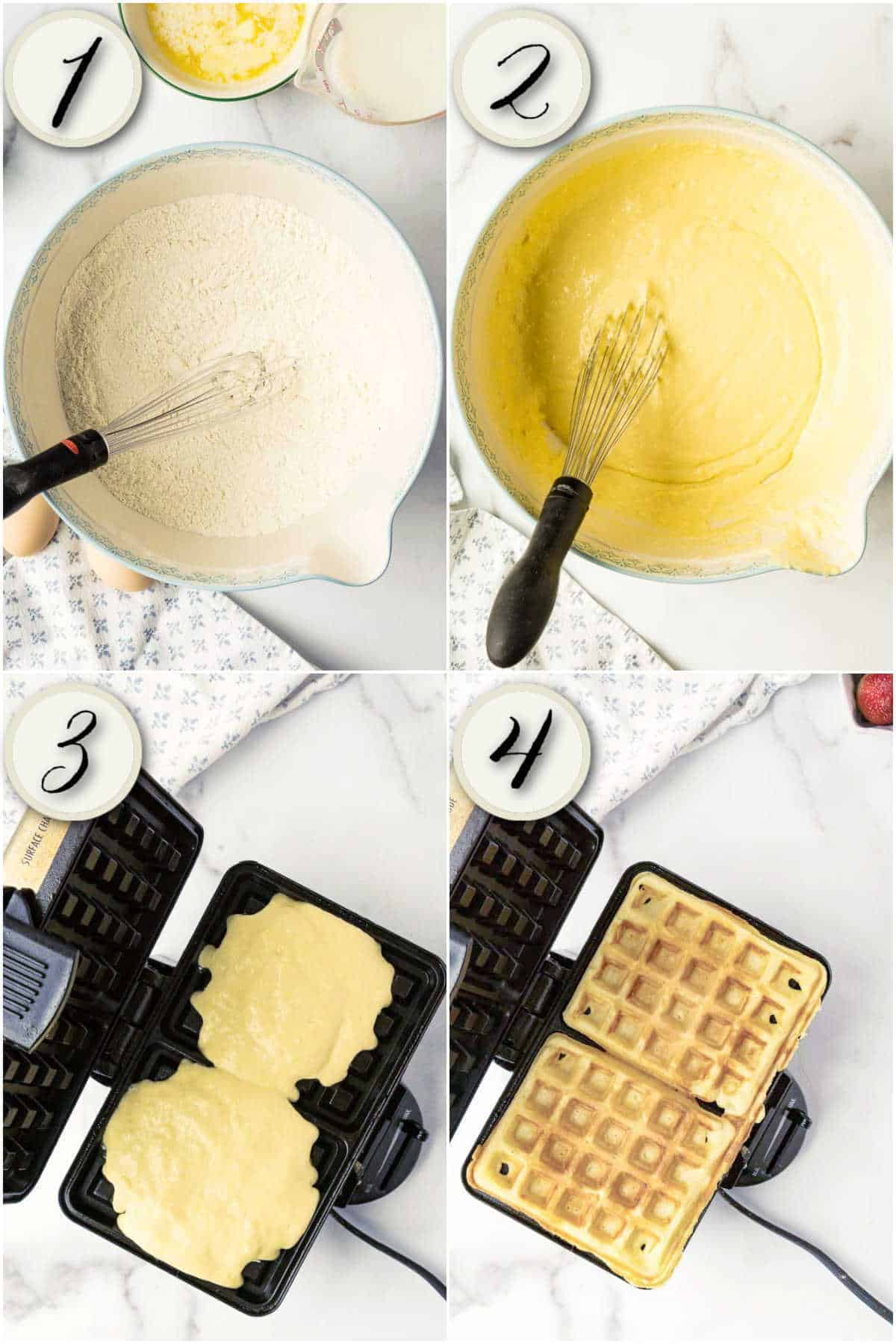 grid of 4 images: mixing dry ingredients, making waffle batter, pouring into waffle iron, finished wafffles