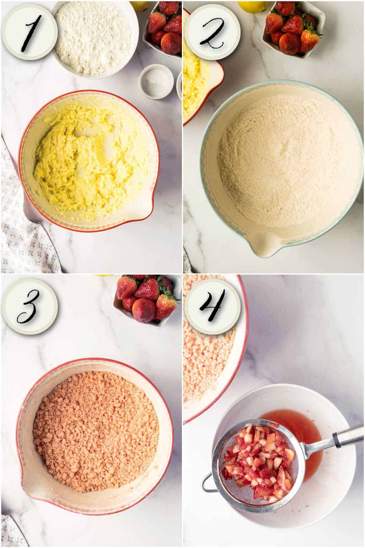 grid of 4 images- mixing strawberries and sugar, beating butter, mixing dry ingredients, crumbly cookie dough
