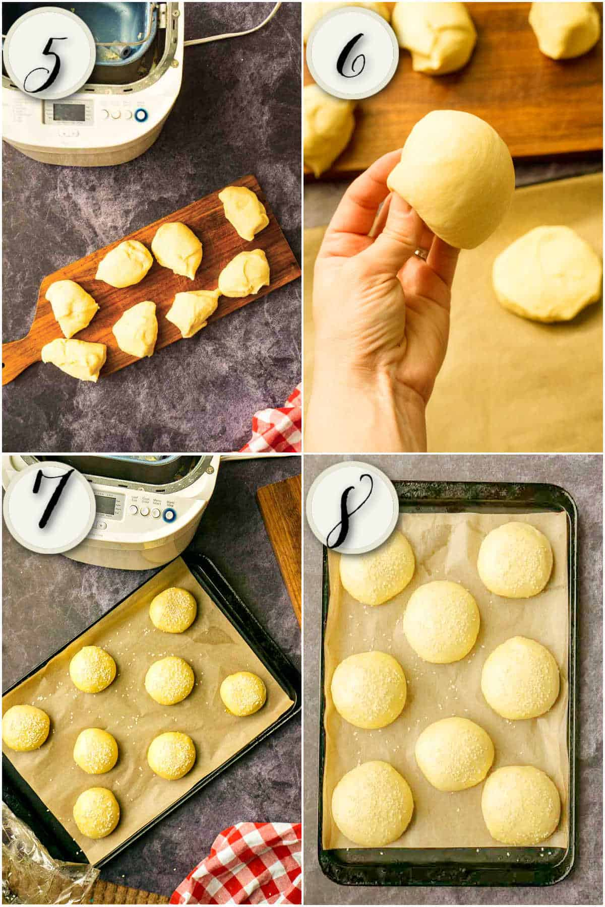 four images showing process of dividing, shaping, and rising buns
