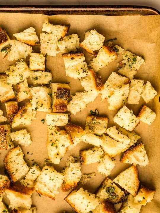 fully baked croutons on parchment