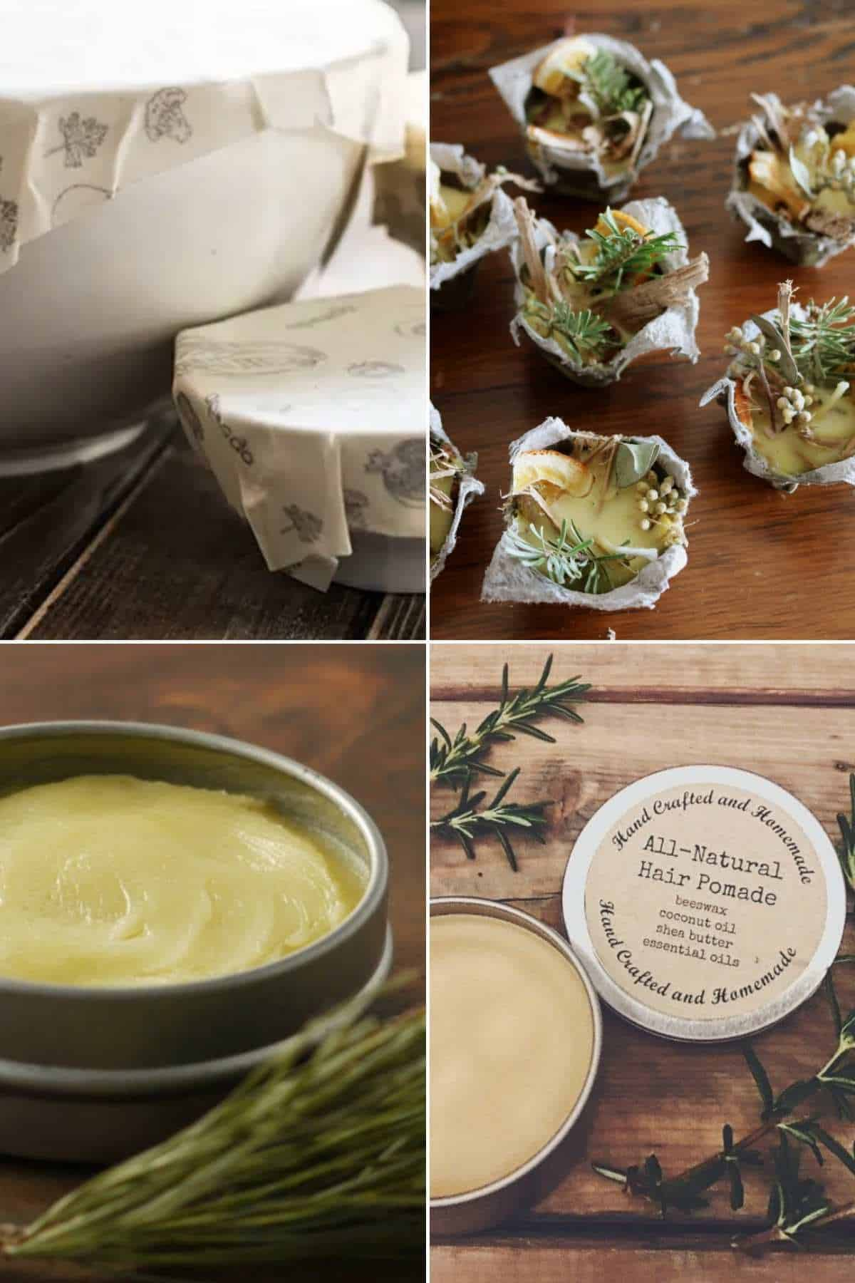 grid of 4 images showing beeswax food wrap, balm, fire starter and hair pomade