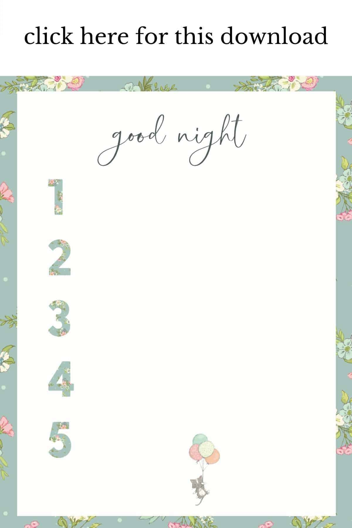 blue floral good night chore printable with kitten holding balloons