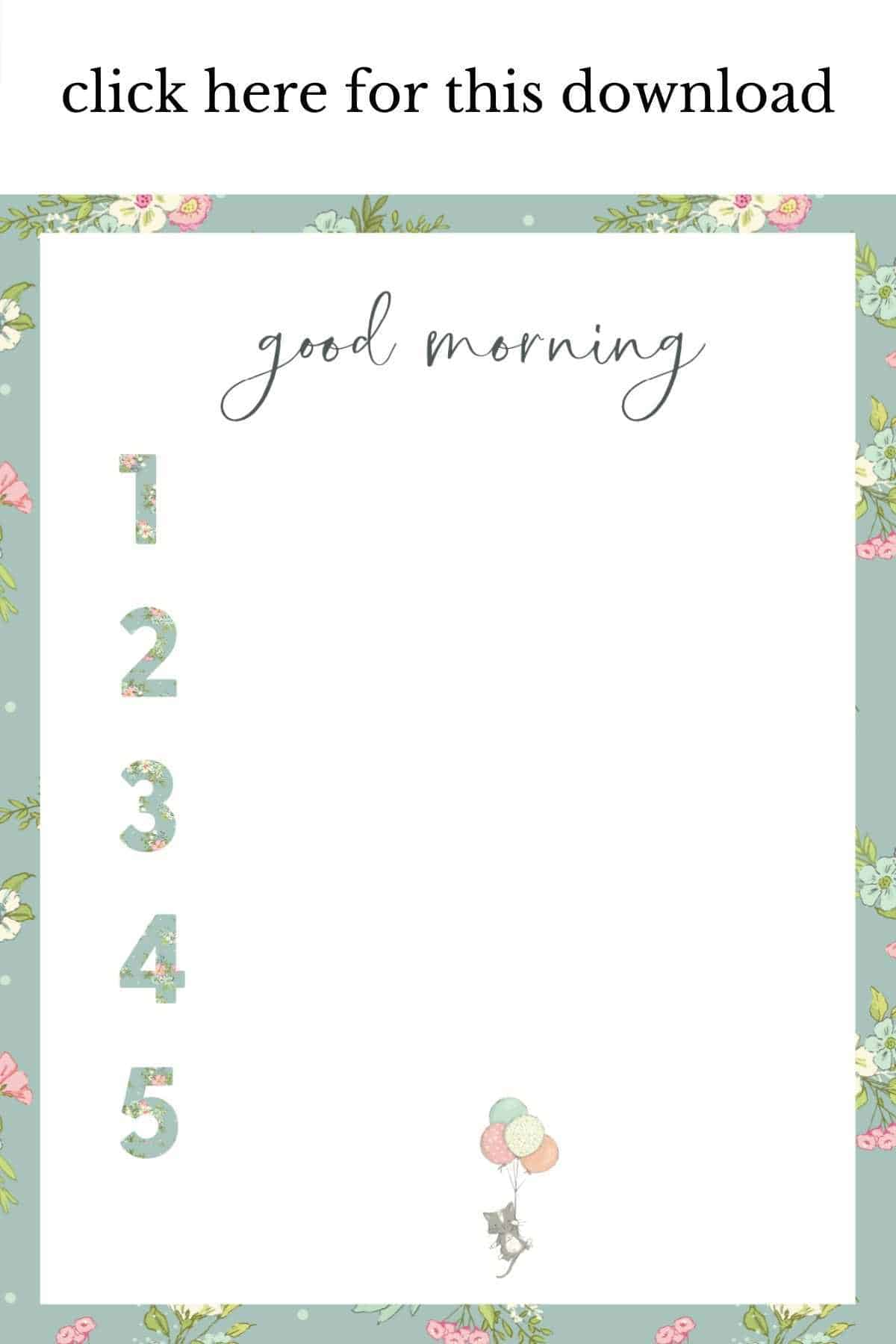 floral border printable chart with blank numbers