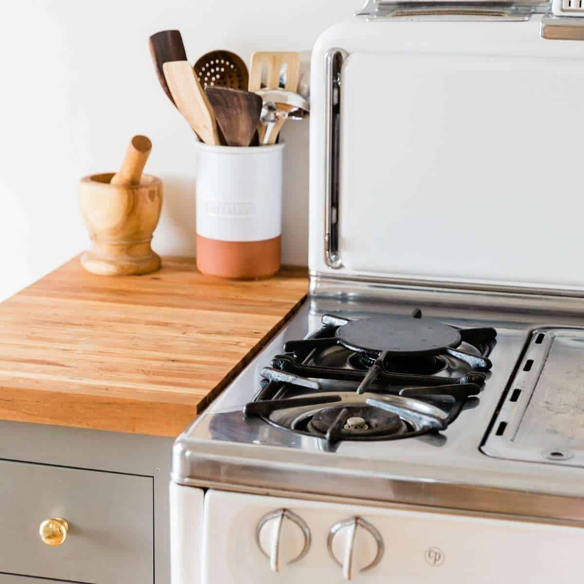 kitchen counter and clean vintage stove