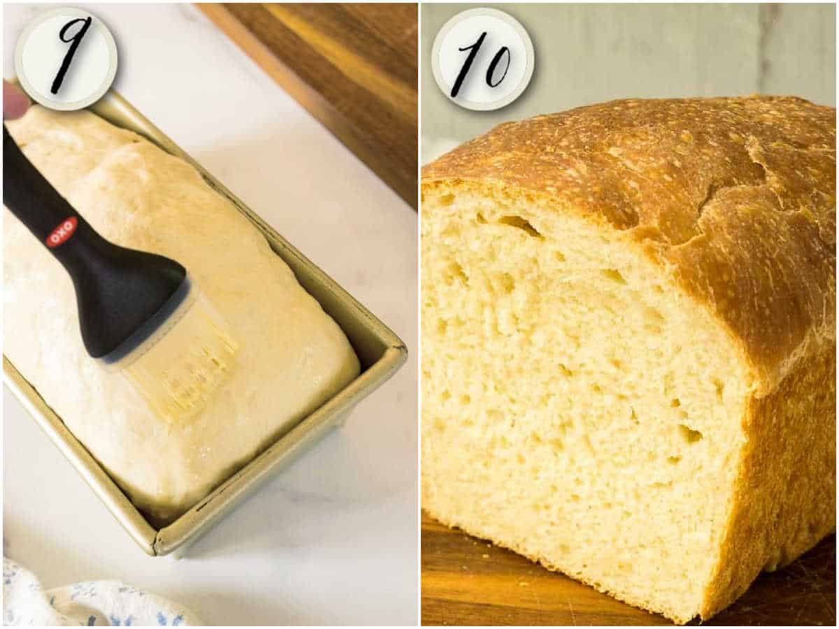 brushing risen loaf with melted butter, finished bread