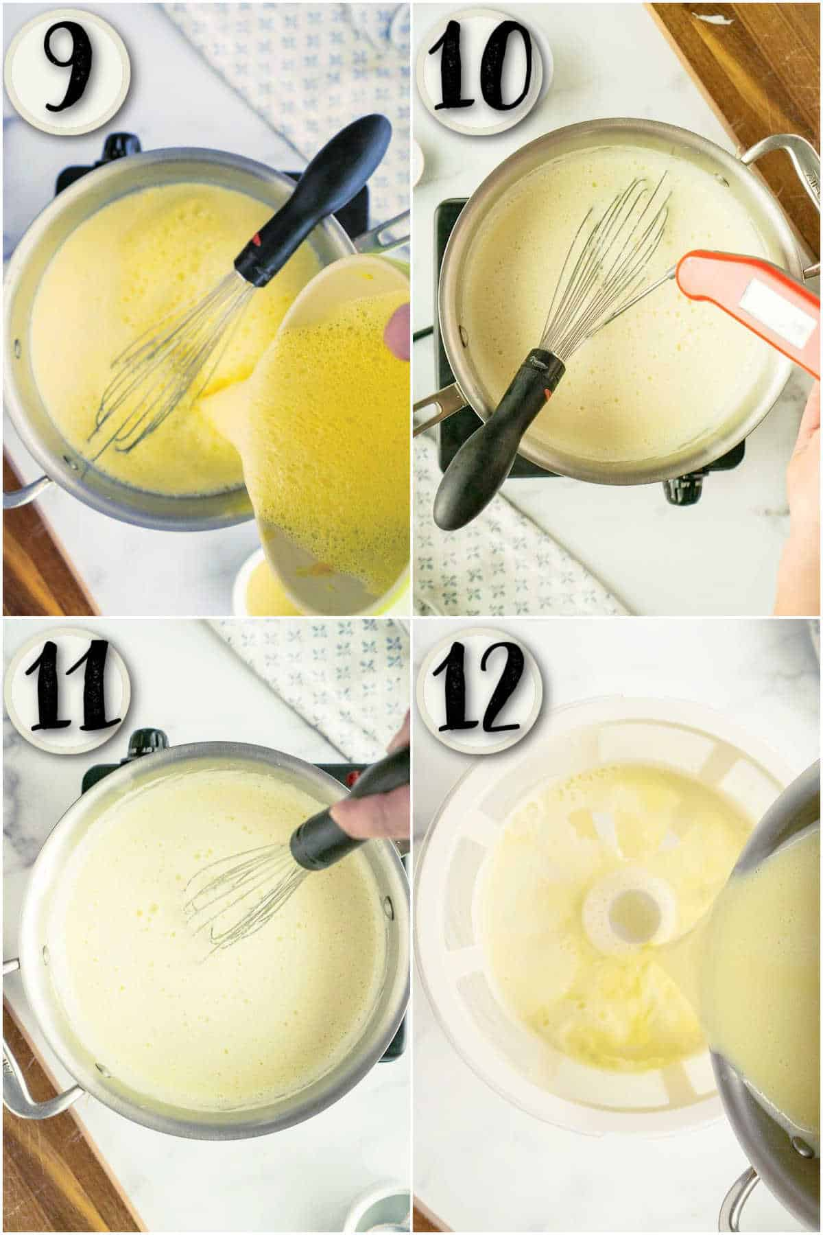 grid of 4 images showing hot vanilla custard for ice cream, and straining