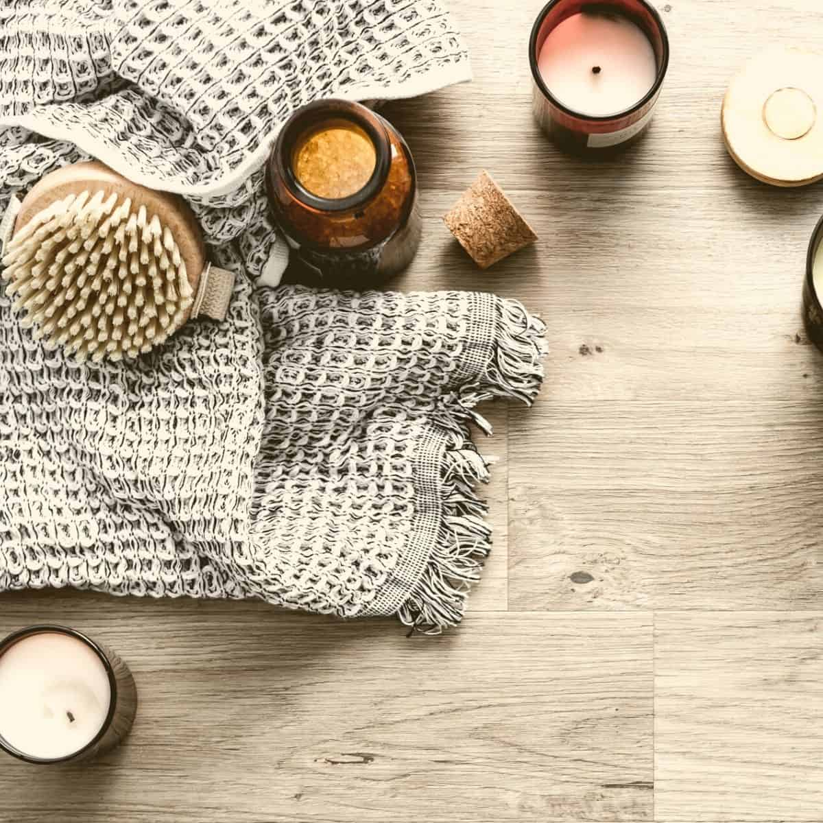 handmade washcloth and candles