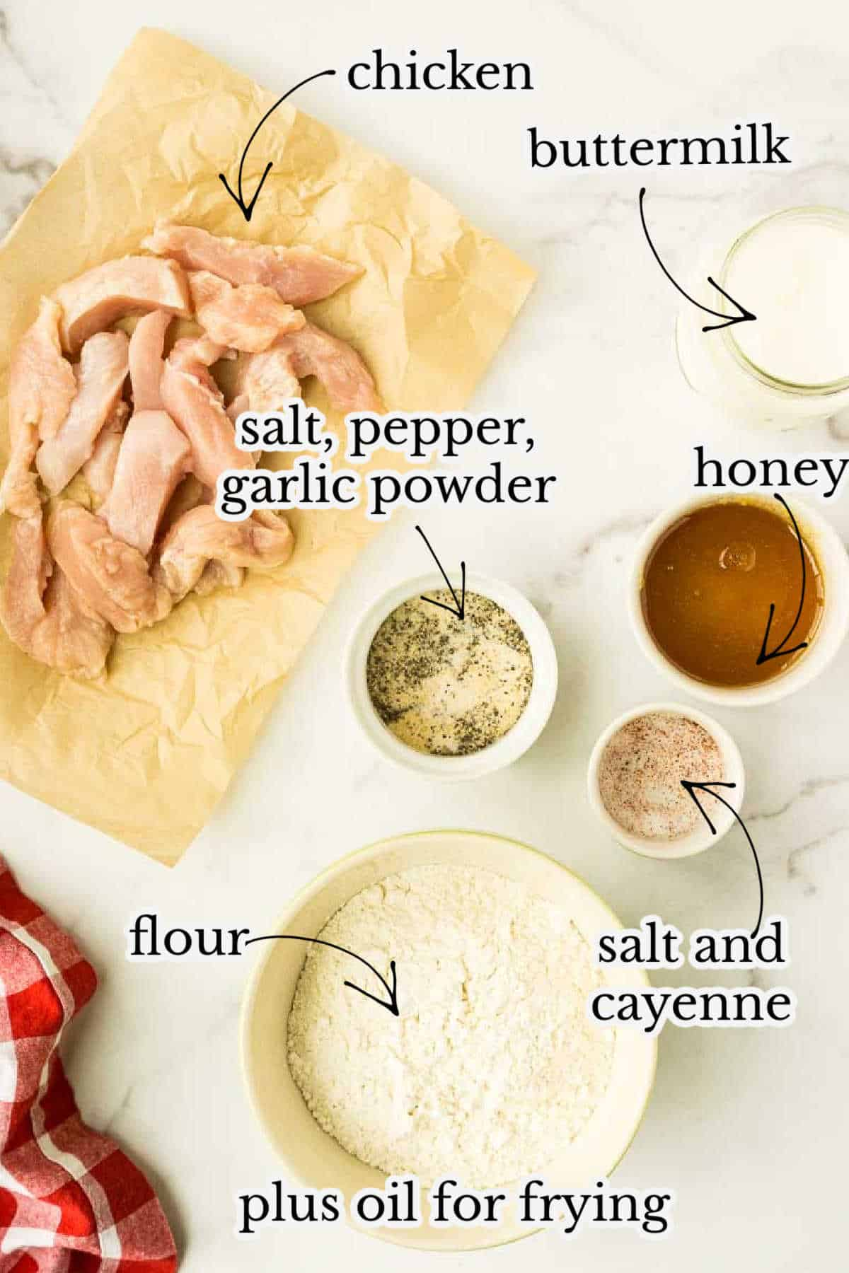 buttermilk, honey, chicken breast, flour, and seasoning on counter