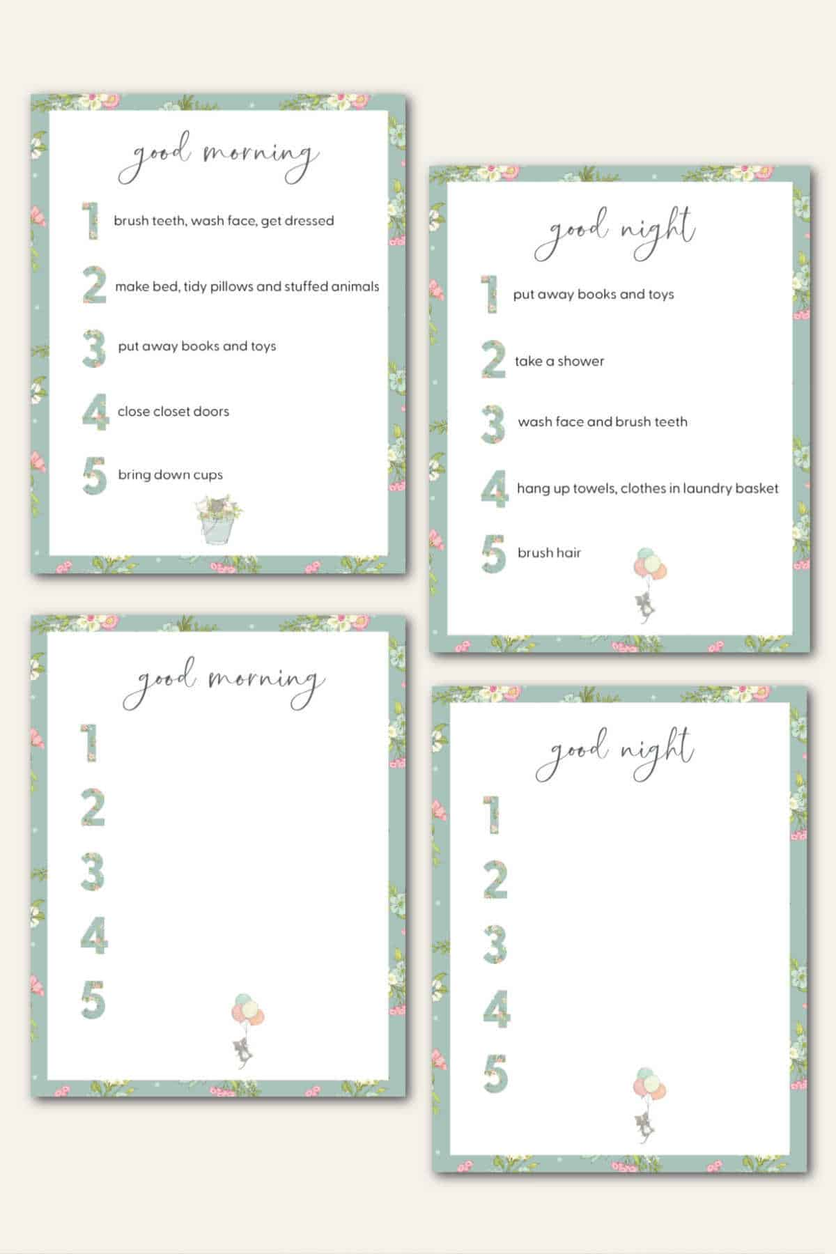 4 kids printables for morning and evening chores