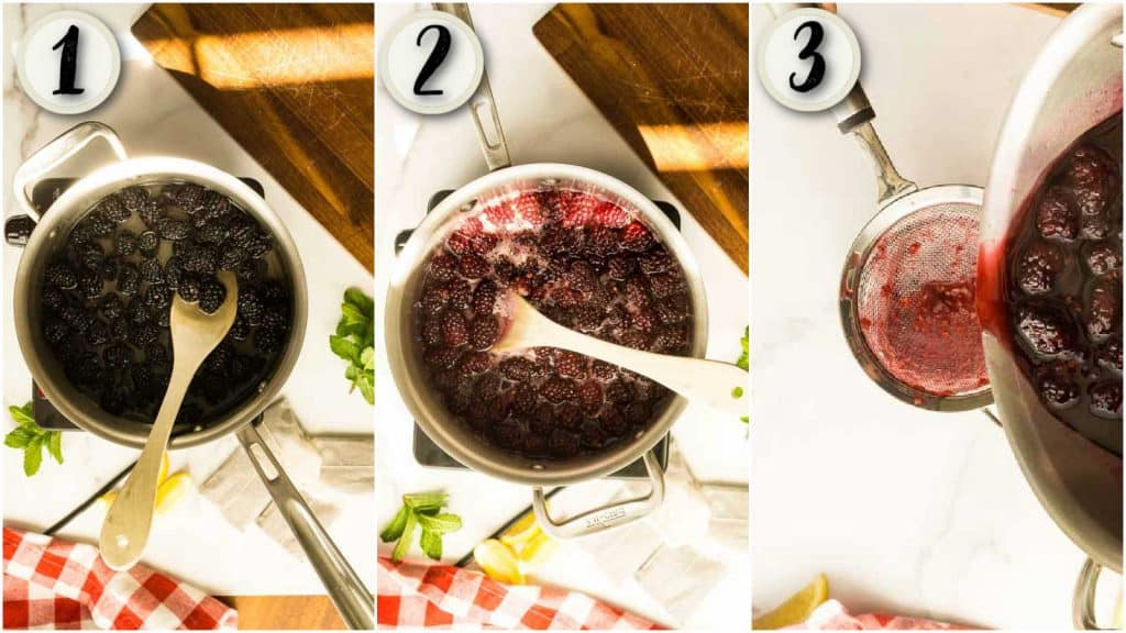 process shots of making blackberry simple syrup: blackberries cooking down and being strained