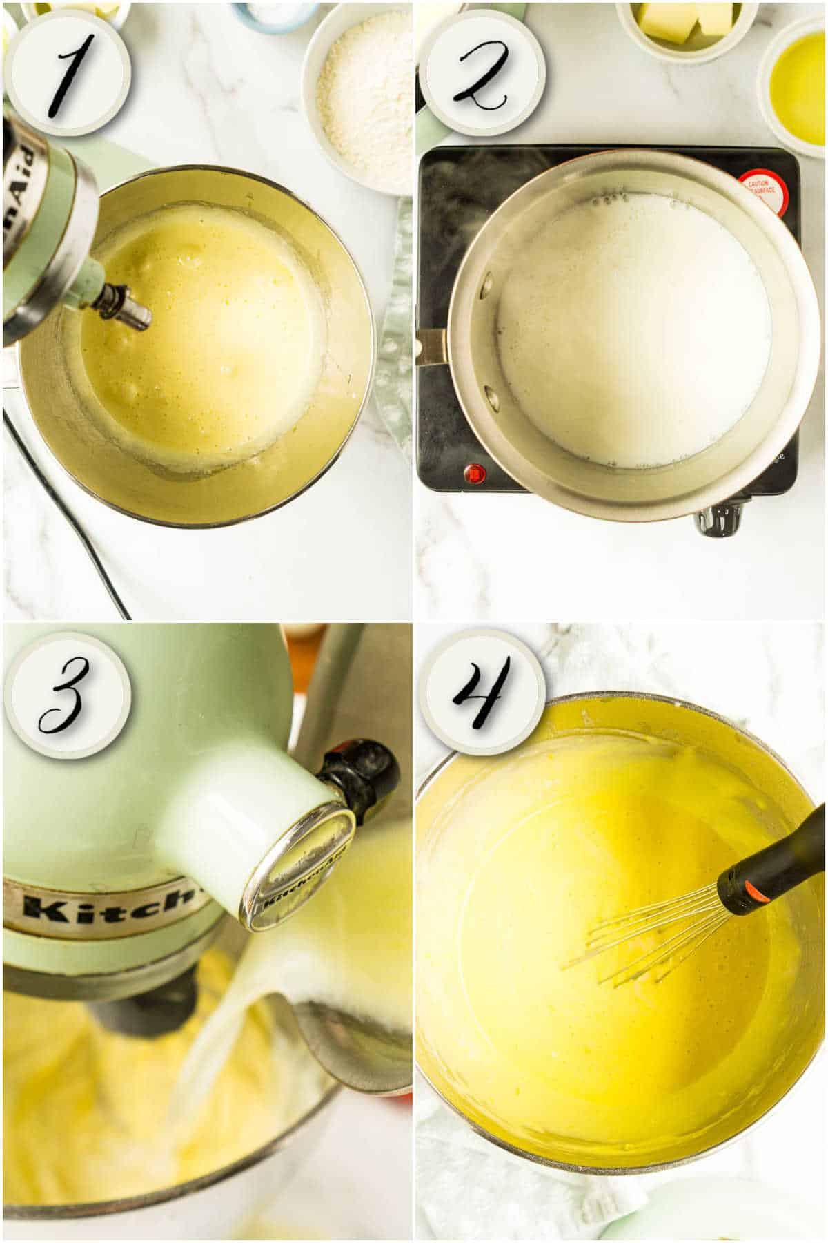 grid of 4 images: cake batter sugar and eggs, hot milk, pouring milk intoo batter, stirring lemon juice and zest in by hand