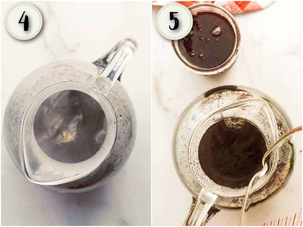 tea bags in pitcher of hot water and cold water being poured in