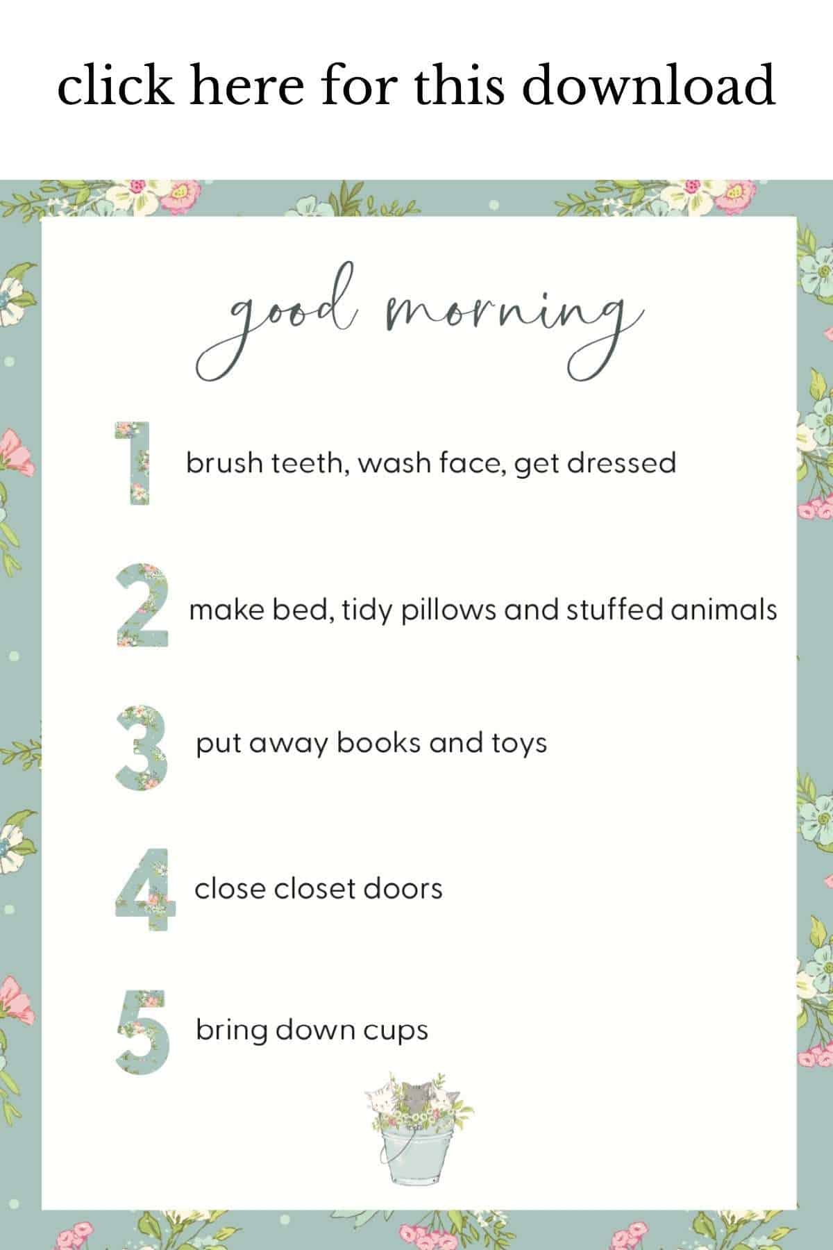 kids morning printable listed 1-5 with kittens, listing morning chores