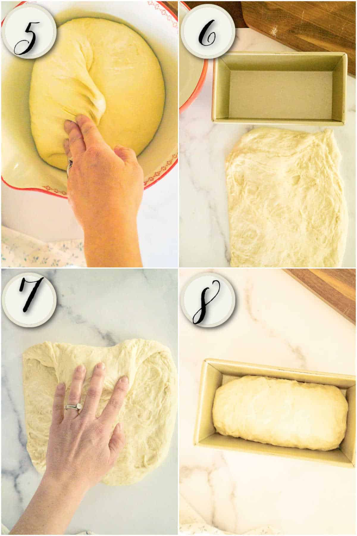 risen dough, shaping into loaf,  placing into loaf pan to rise
