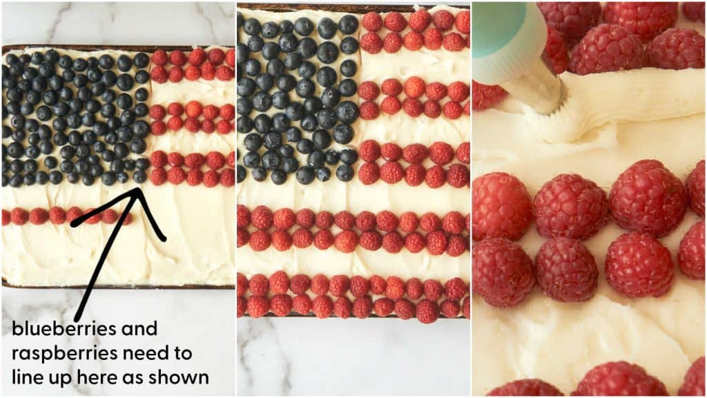 3 process shots showing proper layout of blueberries and raspberries to make american flag design
