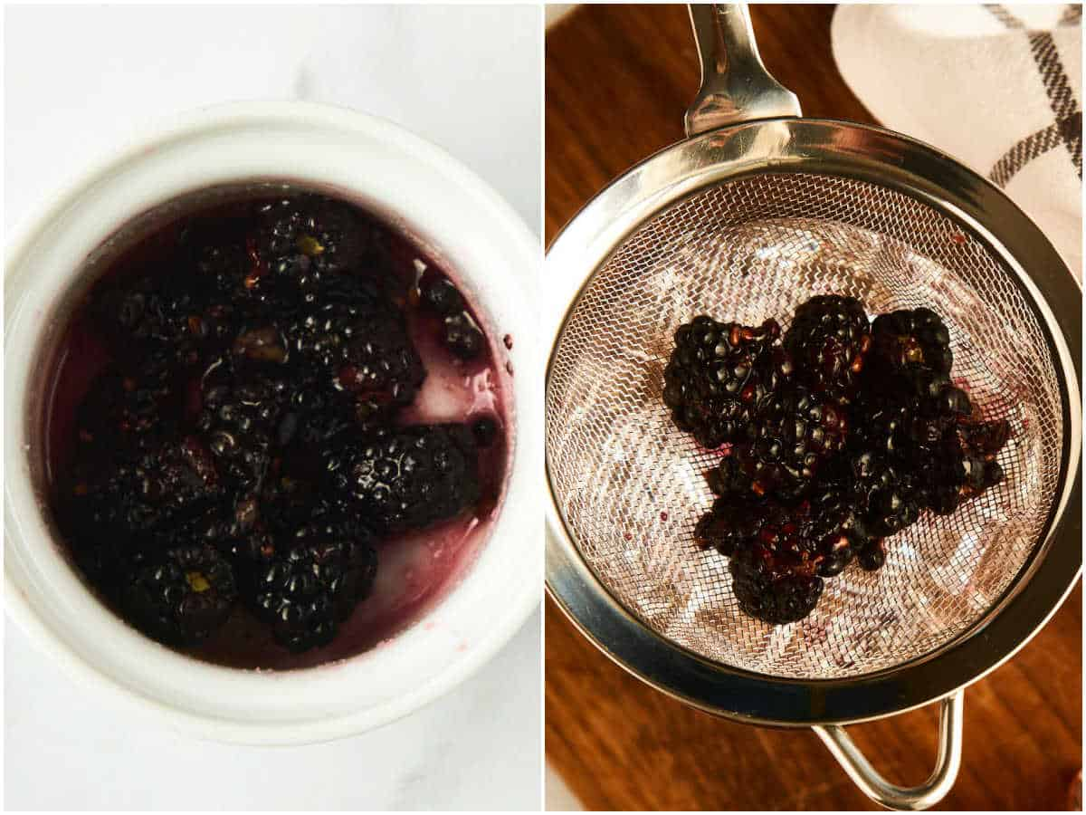 2 images showing sugared blackberries and mesh strainer over glass