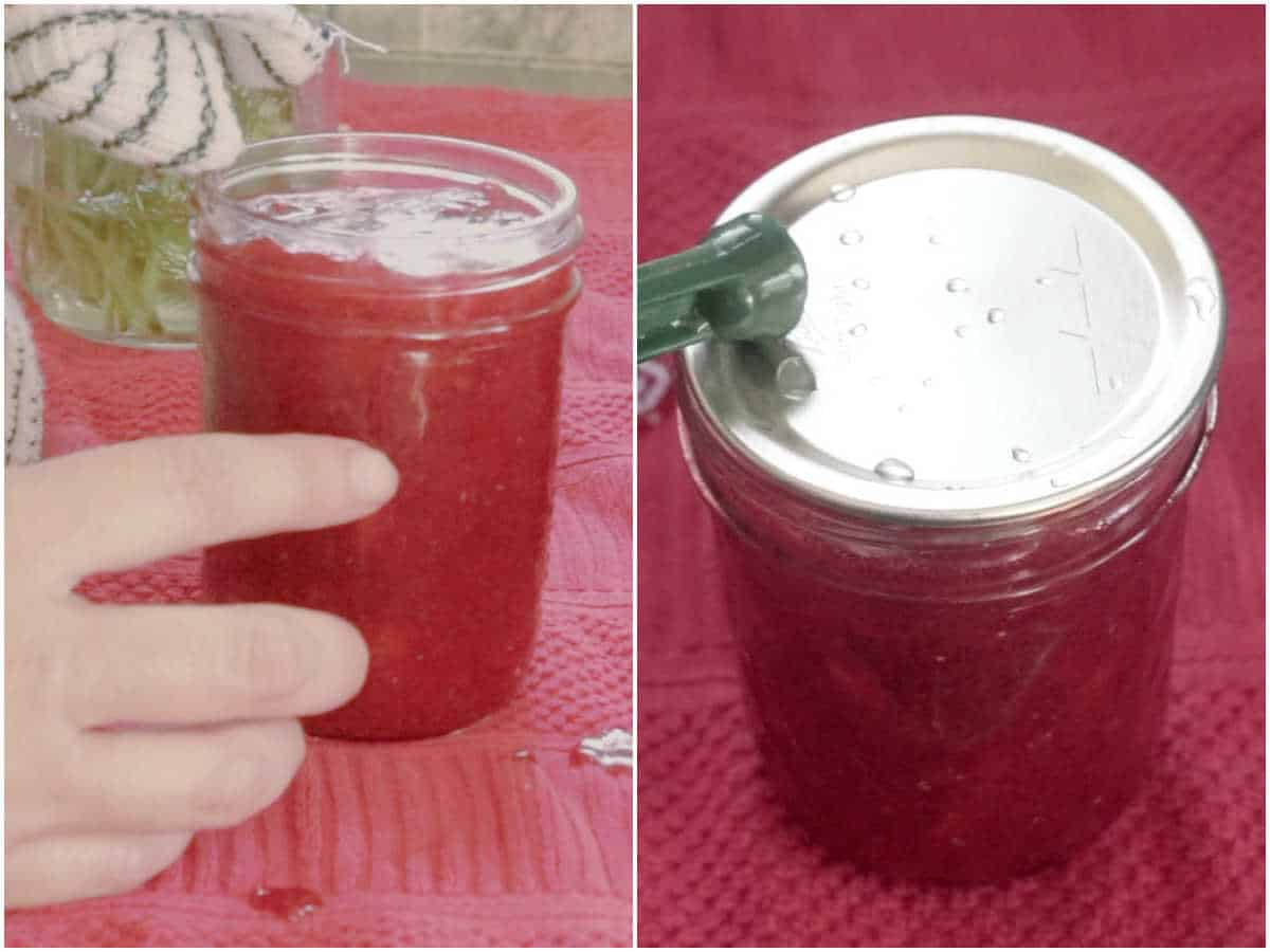 2 images showing wiping canning jar rims and adding lids