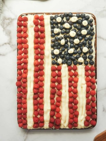 flag cake made with fresh berries in pan