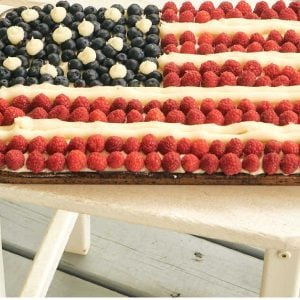 flag cake on front porch table