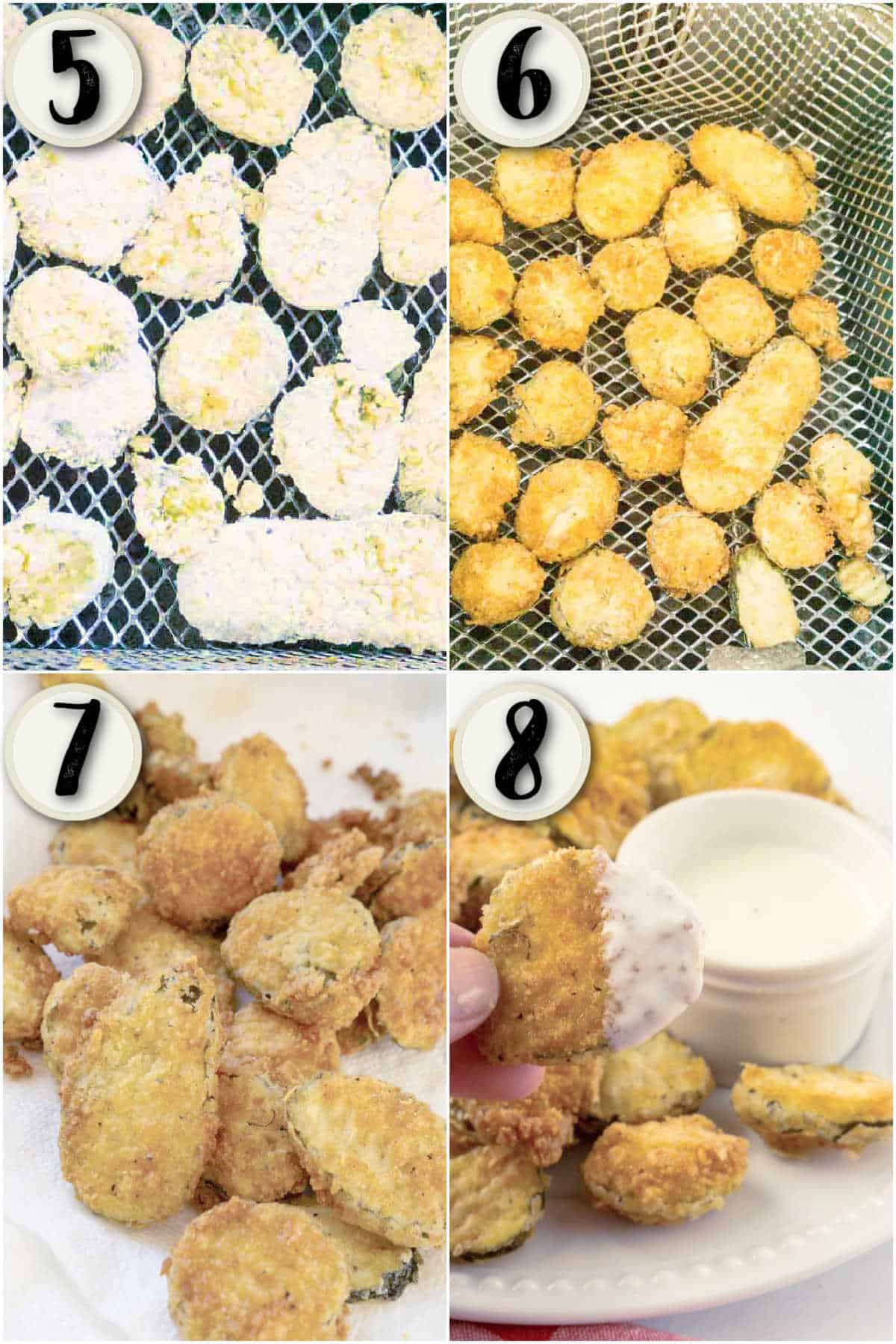 grid of 4 images showing pickles being fried, draining, and dipped in ranch