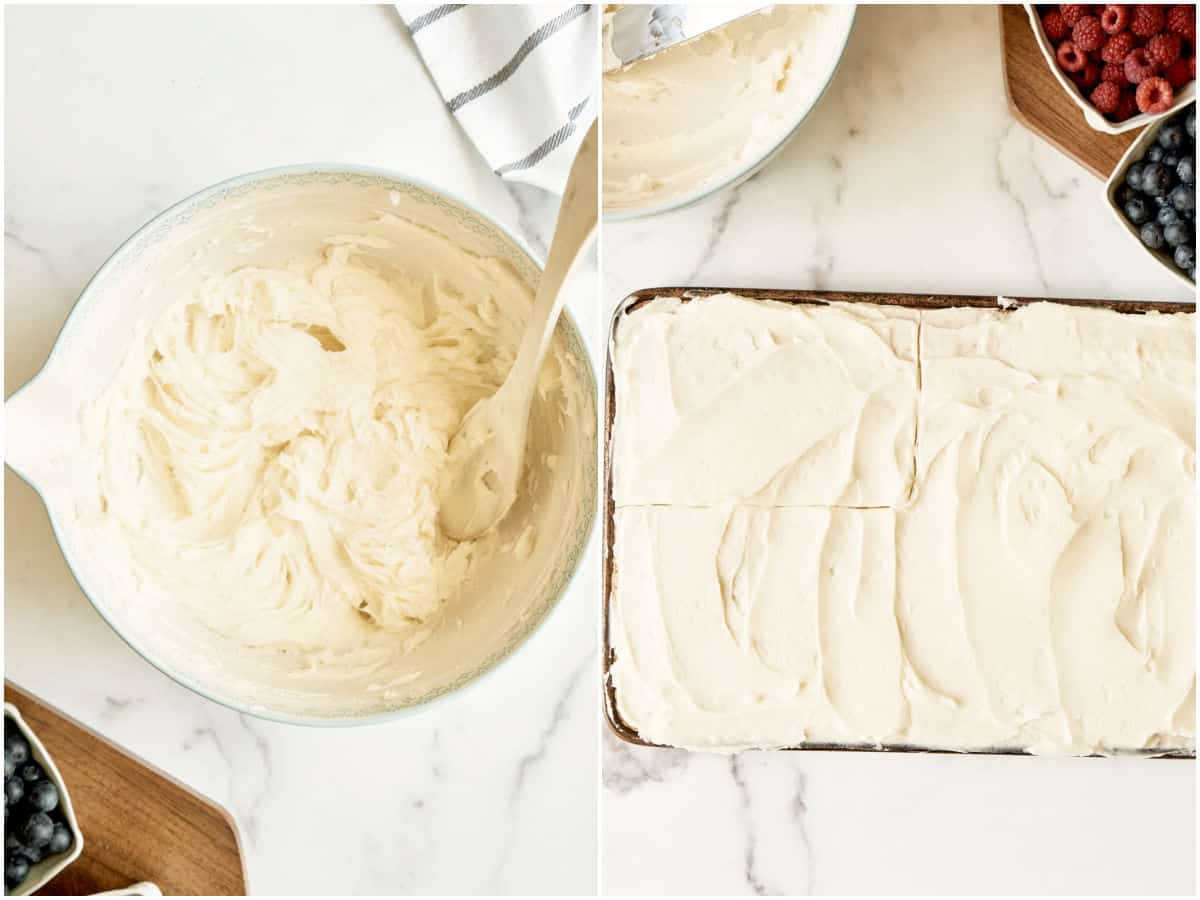 cream cheese frosting in mixing bowl and sheet cake fully frosted