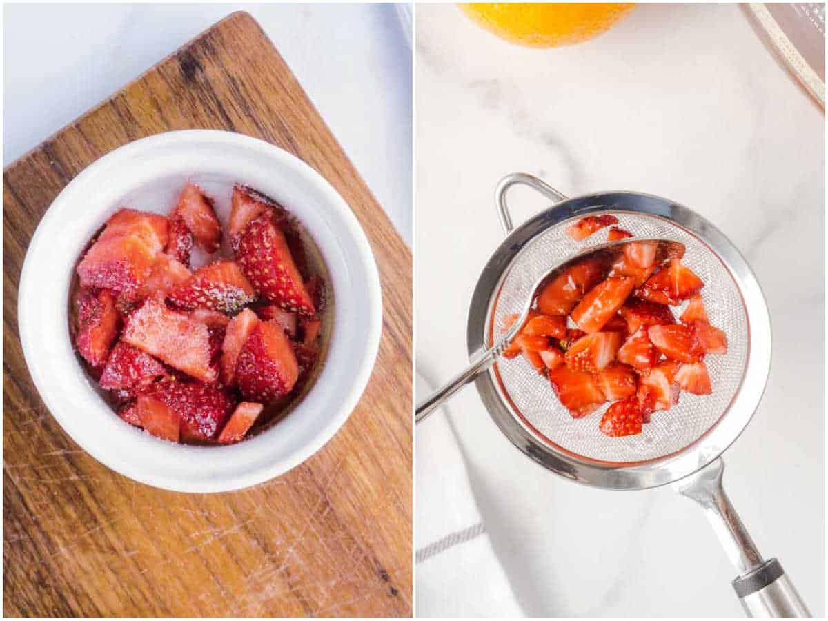 mixing strawberries and sugar, then straining through mesh strainer