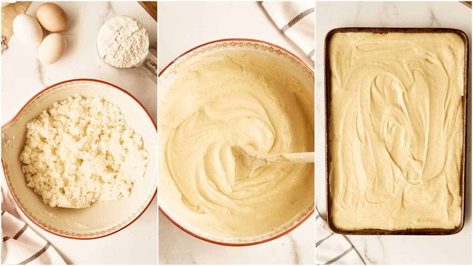 gird of 3 images showing butter and sugar, finished batter in bowl, and batter poured into sheet cake