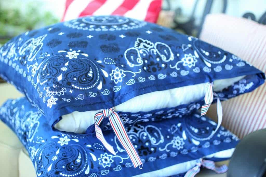 red white and blue handmade pillow cover
