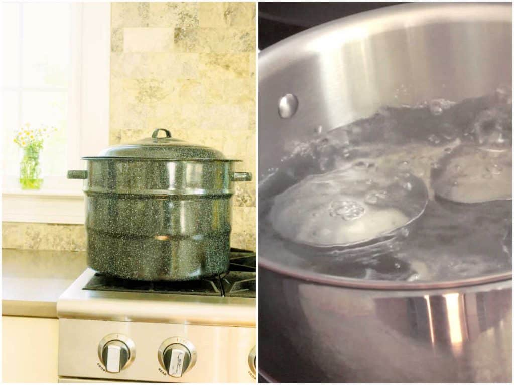 preparing water bath canner and jars and lids