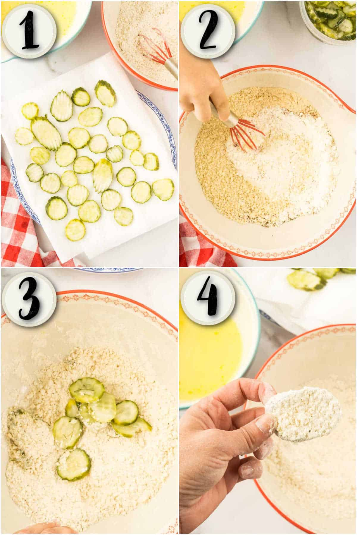 grid of 4 images showing process of drying pickles, mixing flour, and double breading pickles