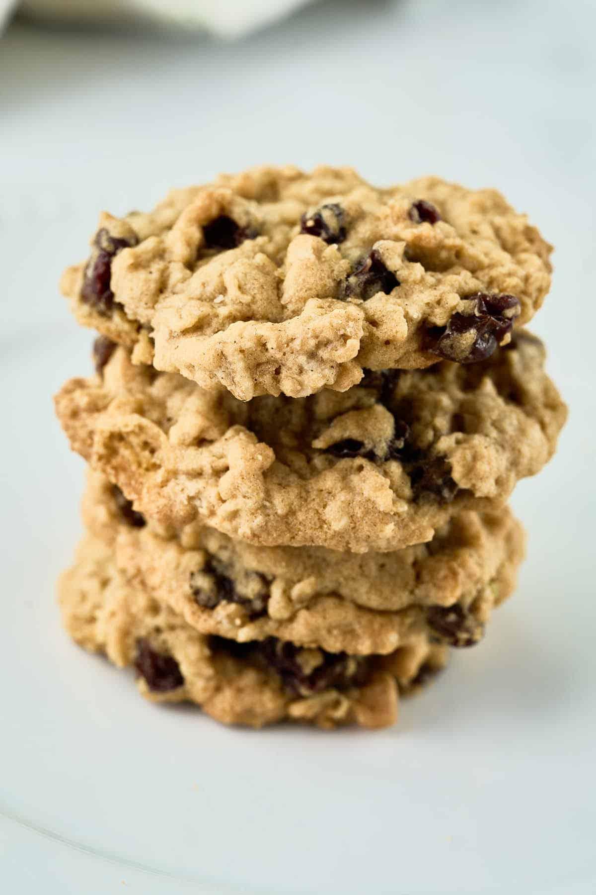 stack of 4 oatmeal raisin cookies