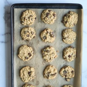 fully baked cookies on parchment lined baking sheet