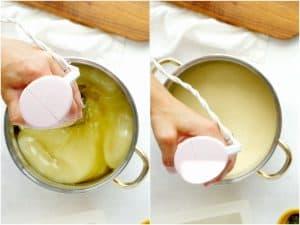 stick blender mixing soap batter