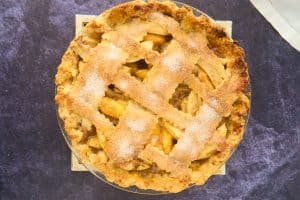 finished lattice topped peach apple pie