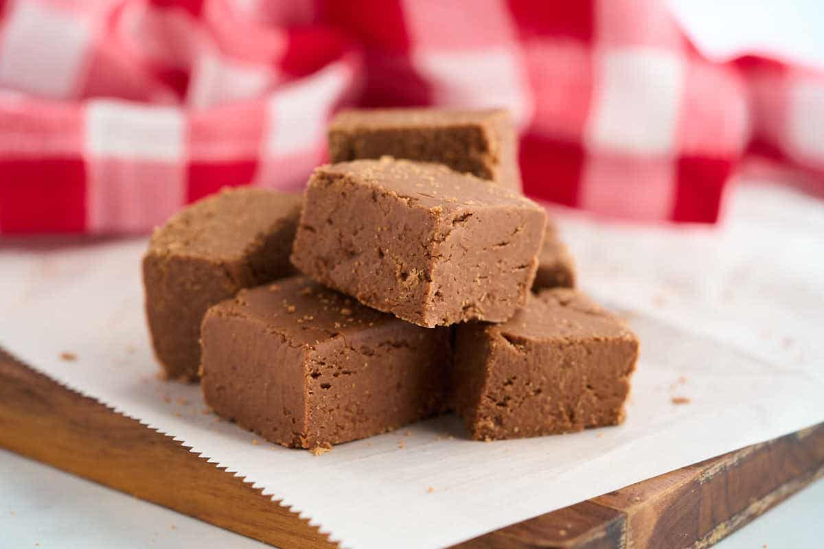 old fashioned fudge squares on counter