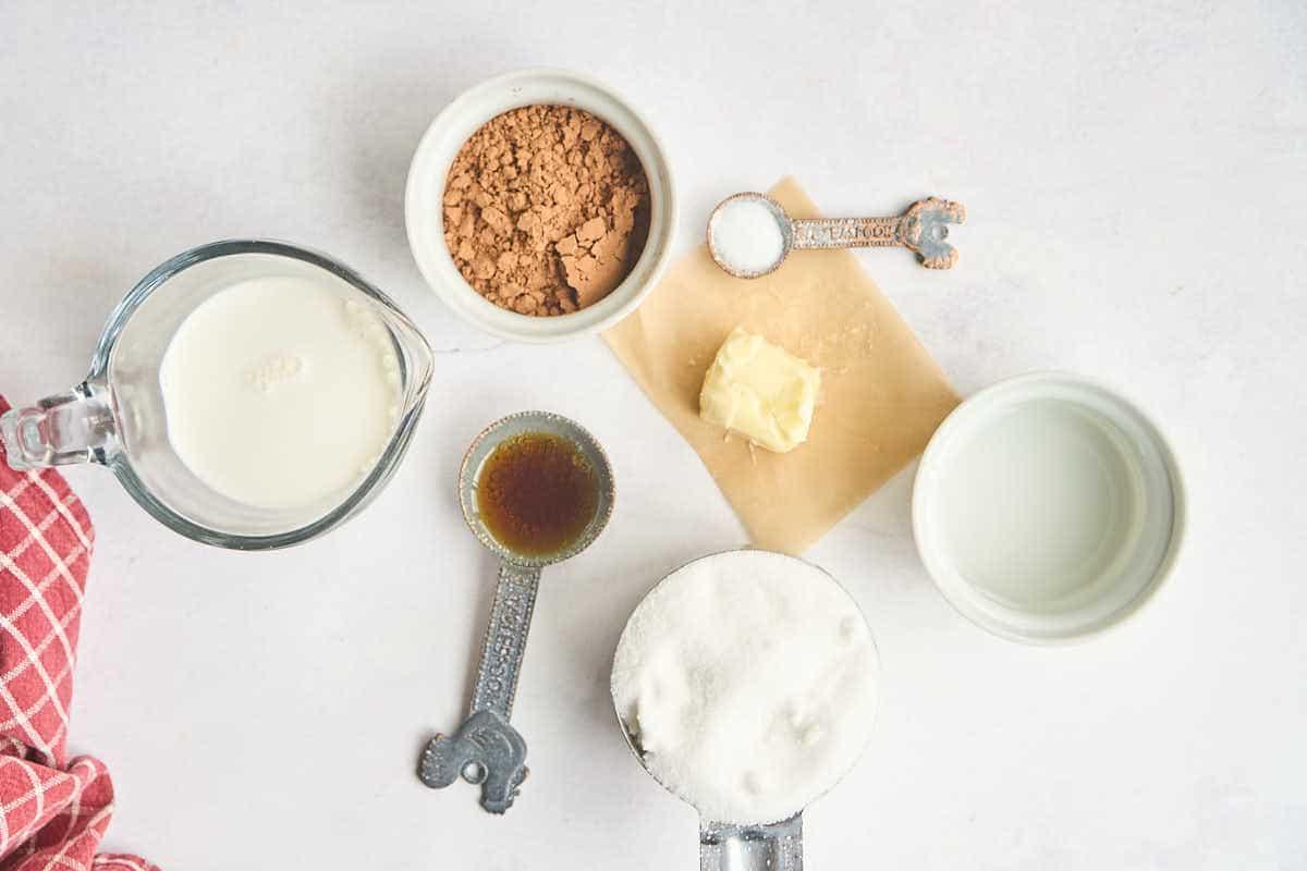 sugar, butter, cocoa, half and half, and vanilla